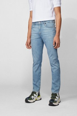 Slim-fit jeans in bright-blue Italian stretch denim, Turquoise