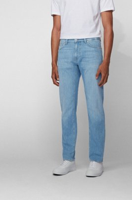 Regular-fit jeans in bright-blue Italian denim, Turquoise