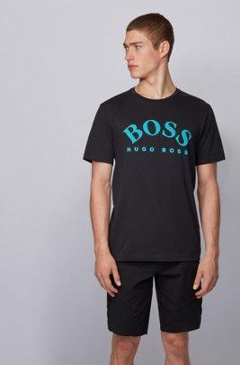 T-shirt en coton à logo incurvé, Noir