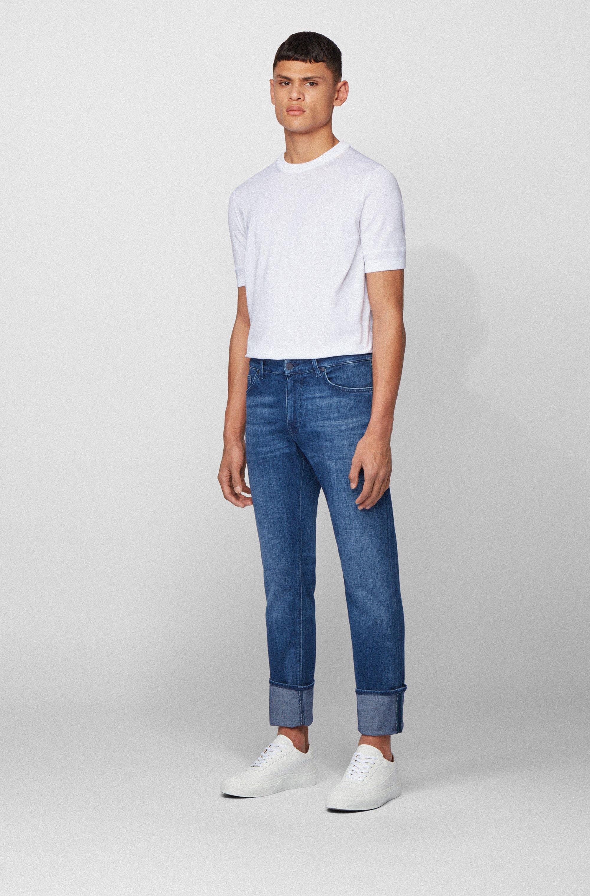 Jeans regular fit in morbidissimo denim elasticizzato realizzato in Italia
