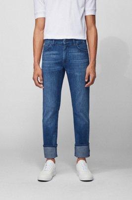 Jeans regular fit in morbidissimo denim elasticizzato realizzato in Italia, Blu