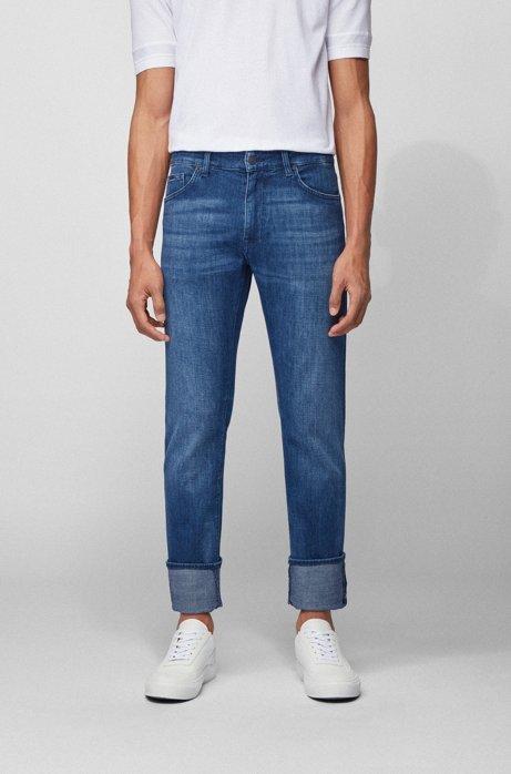Regular-fit jeans van superzacht Italiaans stretchdenim, Blauw