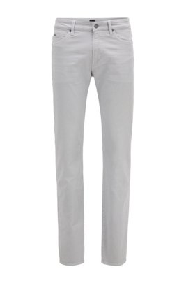 Slim-fit jeans in super-soft Italian stretch denim, Light Grey
