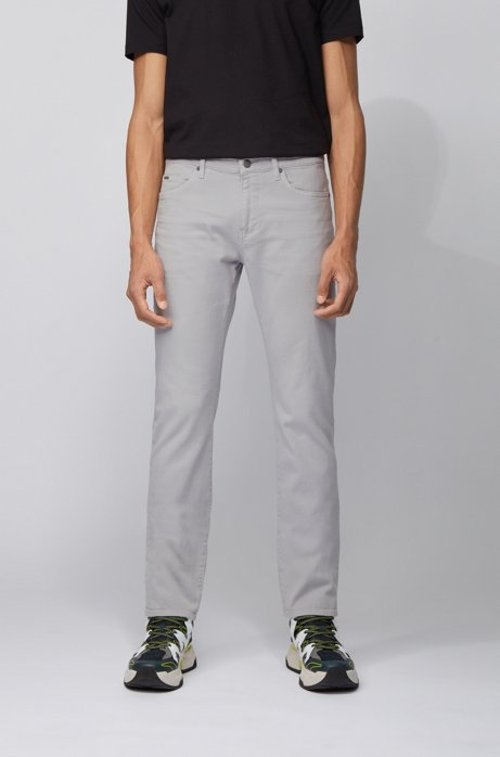 Jeans slim fit in morbidissimo denim elasticizzato italiano, Grigio chiaro