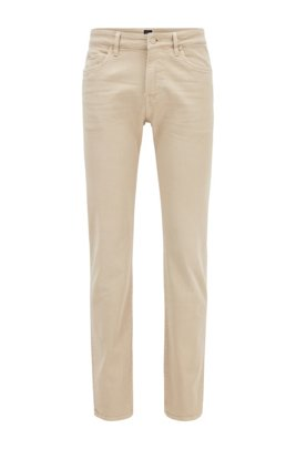 Slim-fit jeans in super-soft Italian stretch denim, Light Beige