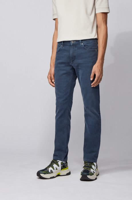 Jeans slim fit in denim blu scuro italiano, Blu