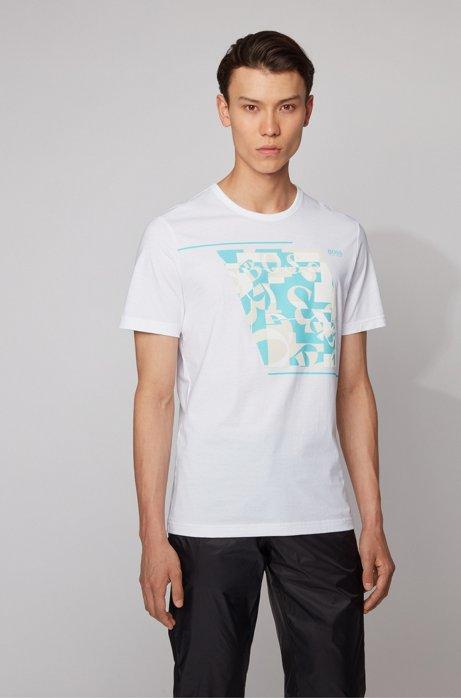 T-shirt van katoen met abstracte logoprint, Wit