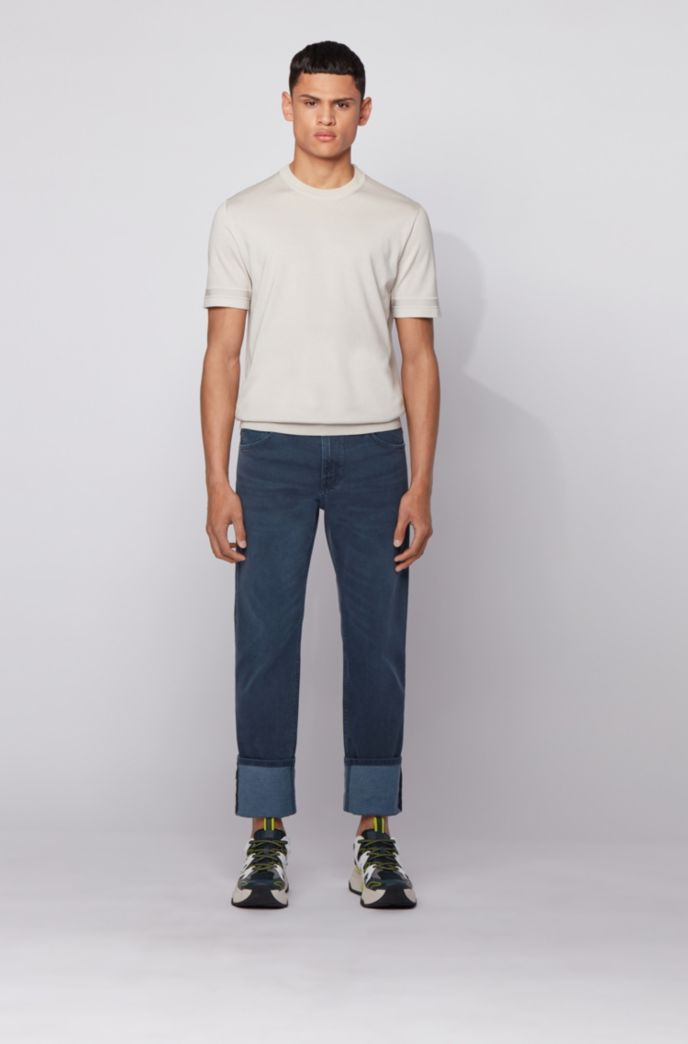Regular-fit jeans van donkerblauw Italiaans denim
