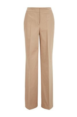Relaxed-fit trousers in washed stretch cotton, Beige