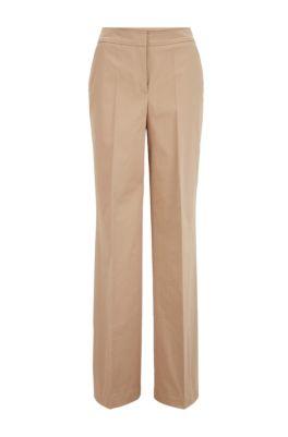 Relaxed-Fit Hose aus gewaschener Stretch-Baumwolle, Beige