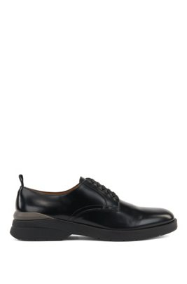Hybrid lace-up shoes in brush-off leather, Black