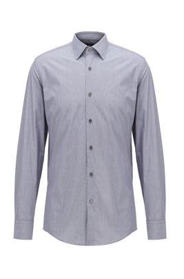 Slim-fit overhemd van Italiaanse katoen met ministrepen, Donkerblauw
