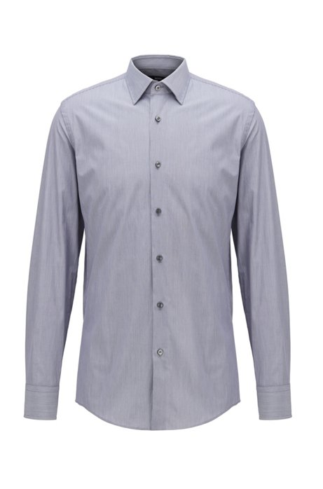 Slim-fit shirt in finely striped Italian cotton, Dark Blue