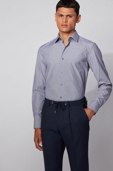 Camicia slim fit a righe sottili in cotone italiano, Blu scuro