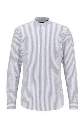 Camisa de vestir slim fit de sirsaca de algodón a rayas, Blanco