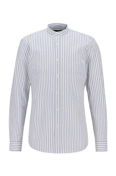 Slim-Fit Hemd aus gestreiftem Baumwoll-Seersucker, Weiß