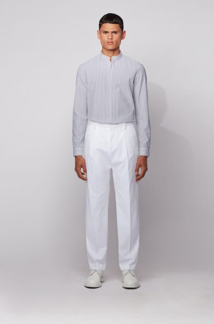 Camisa de vestir slim fit de sirsaca de algodón a rayas
