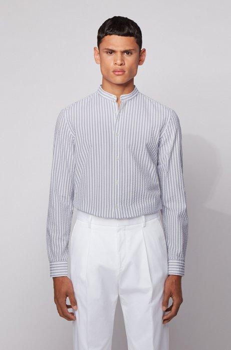 Camicia elegante slim fit in cotone seersucker a righe, Bianco