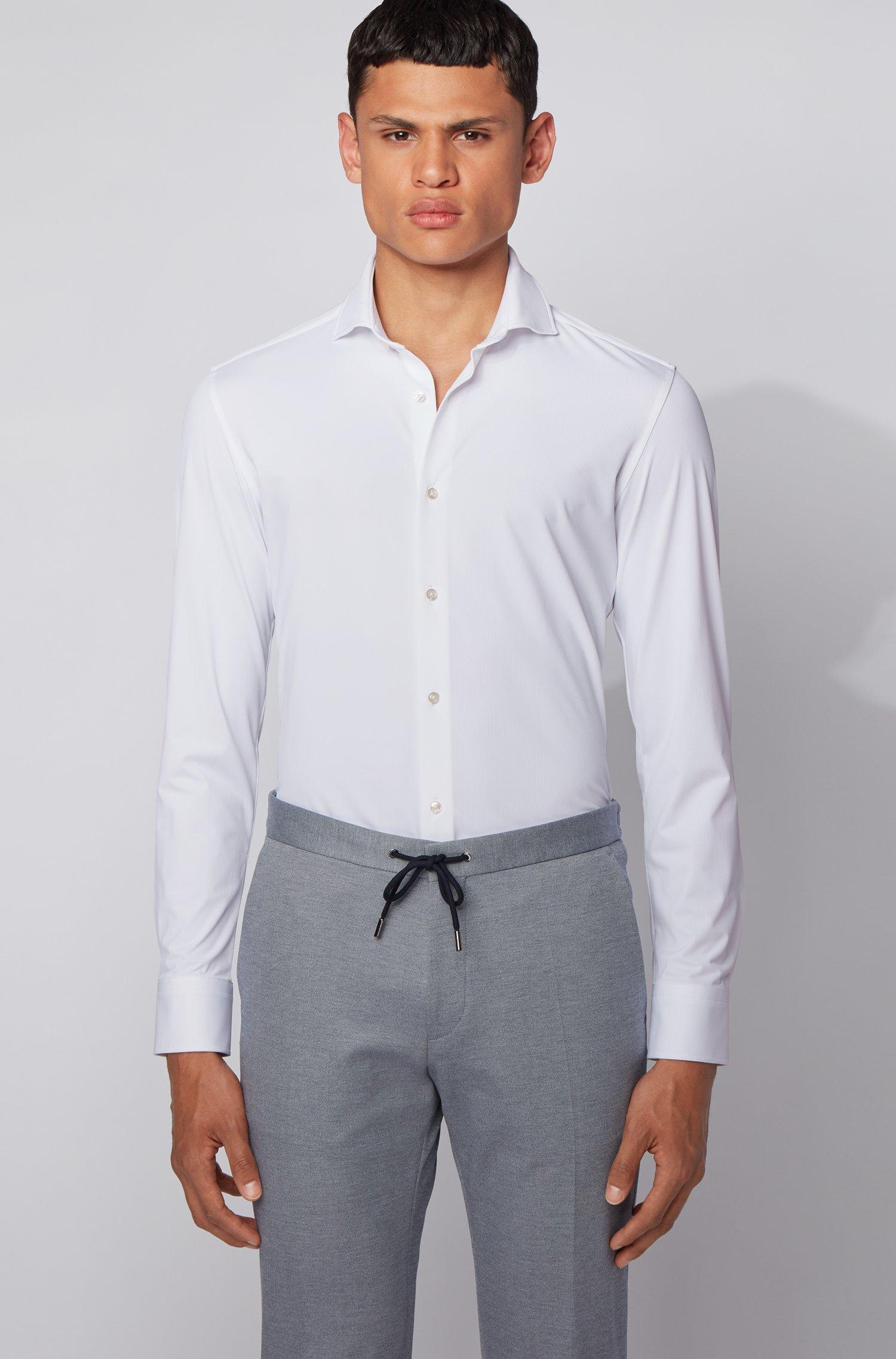 Slim-Fit Hemd aus italienischem Stretch-Funktionsgewebe, Weiß