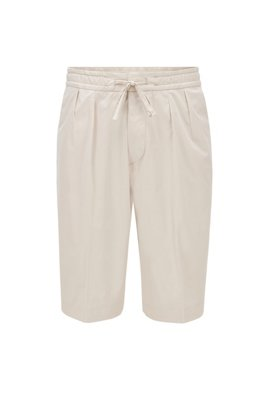 Relaxed-fit shorts in paper-touch stretch cotton, ホワイト