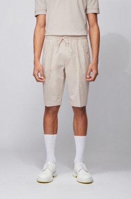 Short Relaxed Fit en coton stretch à la finition lisse, Blanc