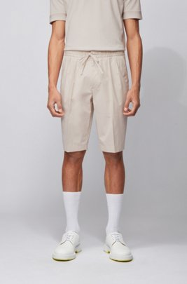 Relaxed-Fit Shorts aus Stretch-Baumwolle mit Paper-Touch-Finish, Weiß