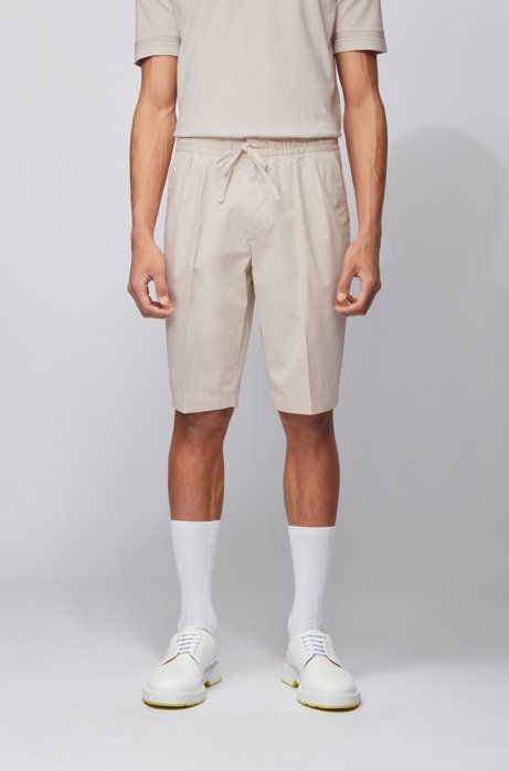 Relaxed-fit shorts in paper-touch stretch cotton, Natural