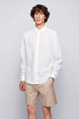 Slim-fit shirt in washed Italian linen, ホワイト