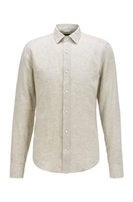 Slim-fit shirt in washed Italian linen, ライトベージュ