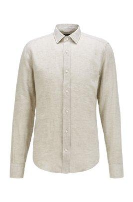 Slim-fit shirt in washed Italian linen, Light Beige