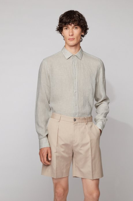 Slim-fit shirt in washed Italian linen, Light Beige