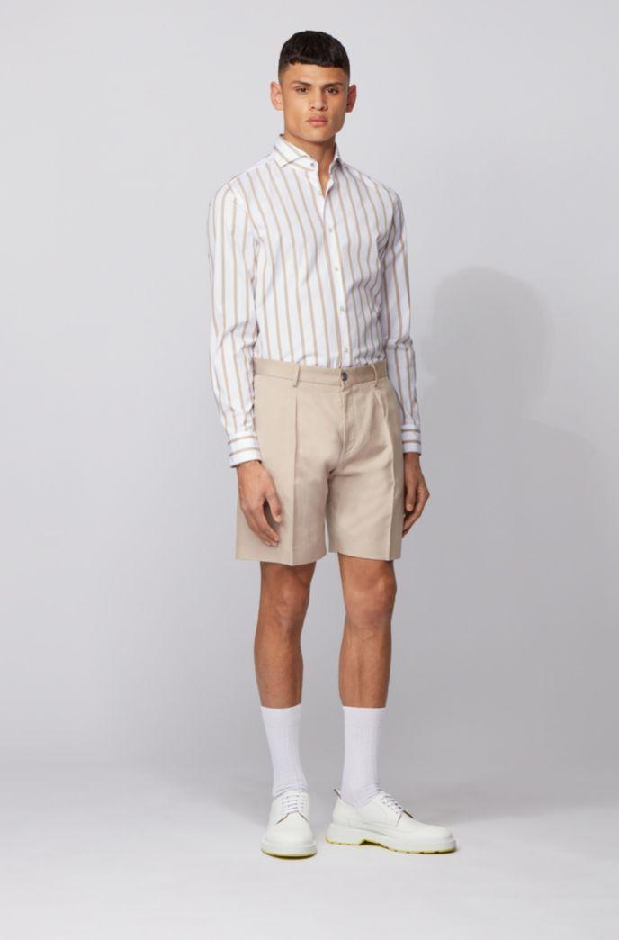Camicia slim fit a righe grosse in popeline di cotone effetto lavato