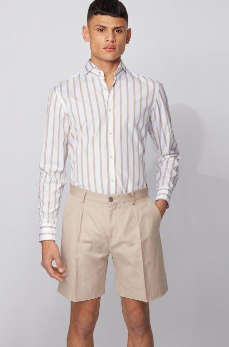 Camicia slim fit a righe grosse in popeline di cotone effetto lavato, Beige chiaro