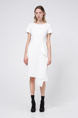 Short-sleeved dress with draped detail, White