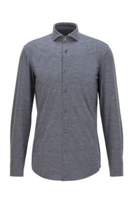 Slim-fit overhemd van Italiaans performancemateriaal met stretch, Grijs
