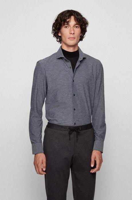 Slim-Fit Hemd aus italienischem Stretch-Funktionsgewebe, Grau