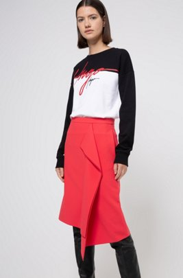 Pencil skirt in stretch fabric with drape front, レッド