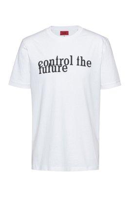 Unisex-T-Shirt aus recot²®-Baumwolle mit Slogan-Print, Weiß
