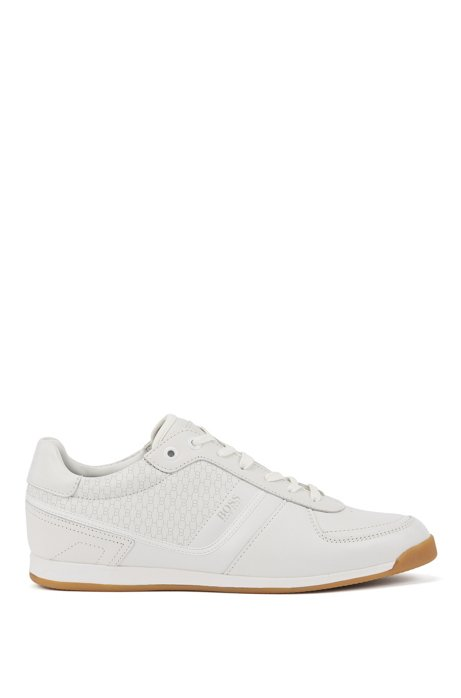 Nappa-leather trainers with monogrammed perforations, White