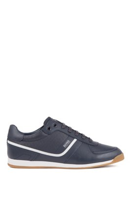 Nappa-leather trainers with monogrammed perforations, Dark Blue
