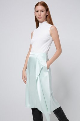 A-line skirt in lustrous fabric with drape front, Light Green