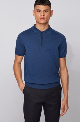 Short-sleeved knitted sweater with polo collar, Dark Blue