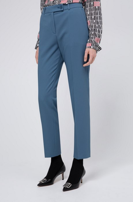 Slim-fit trousers in pique fabric with logo-ribbon trim, Dark Blue