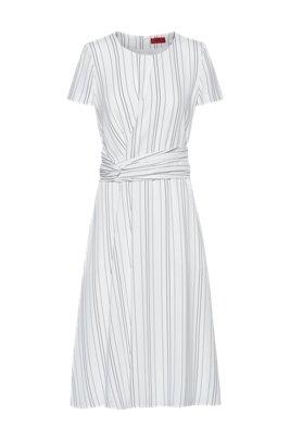 Striped dress with waist detail, White
