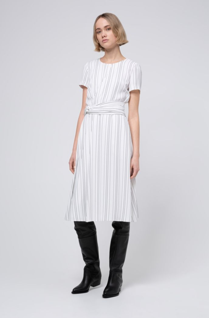Striped dress with waist detail