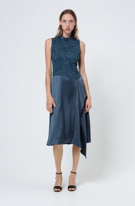 Sleeveless dress in lace and hammered crepe with draped detail, Dark Blue