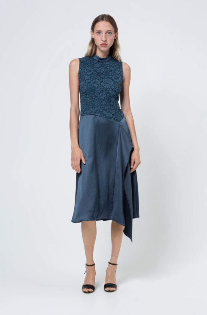 Sleeveless dress in lace and hammered crepe with draped detail