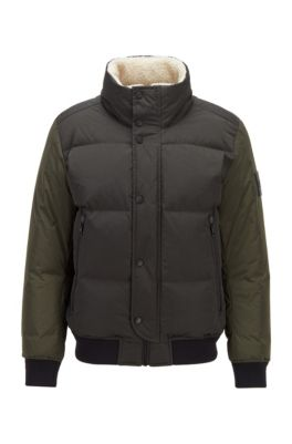 Relaxed-fit down jacket with teddy collar lining, Light Green