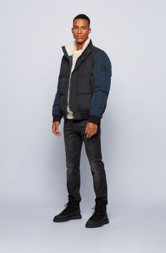 Relaxed-fit down jacket with teddy collar lining