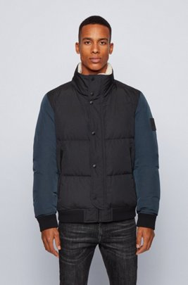 Relaxed-fit down jacket with teddy collar lining, Dark Blue